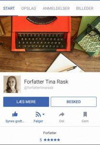 Forfatter Tina Rask på Facebook